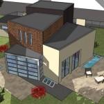 Plano de casa con diseño irregular en 2 plantas