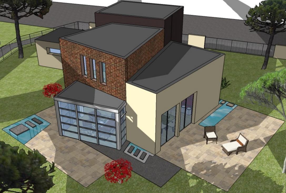 Fachada de casa con diseño irregular en 2 plantas