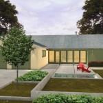 Plano de casa de 3 habitaciones y jardín frontal