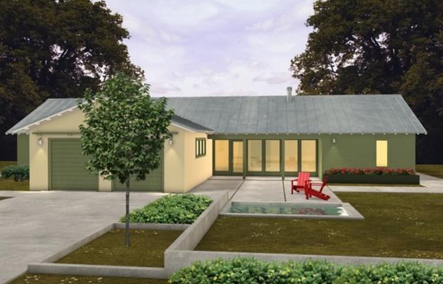 Fachada de casa de 3 habitaciones y jardín frontal