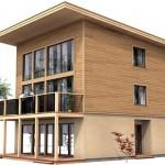 Plano de casa moderna de 3 pisos y 3 dormitorios