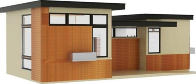 Fachada de vivienda minimalista y bonita