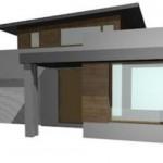 Modelo de casa conceptual de dos pisos y tres dormitorios