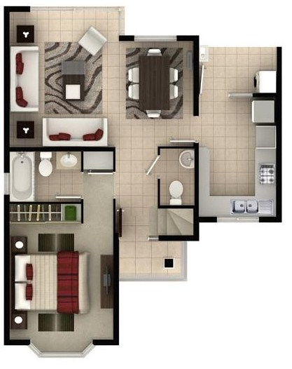 modelo de casa de 2 pisos y 3 dormitorios