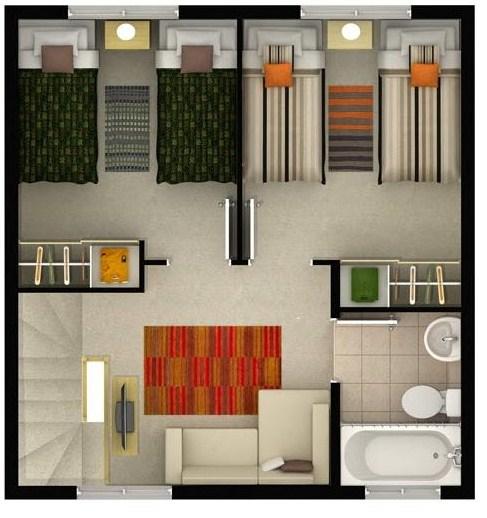 Modelo de casa de dos pisos y 3 dormitorios