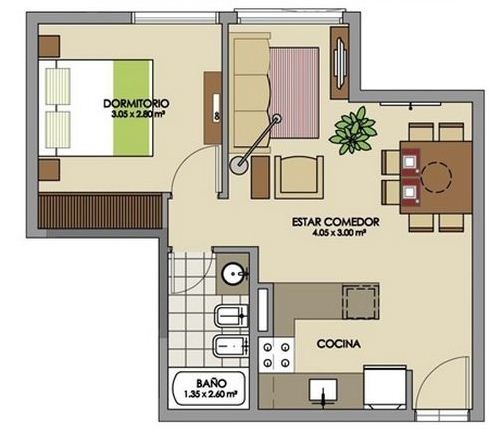 Plano de casa de 6 x 6 m | Planos y casas