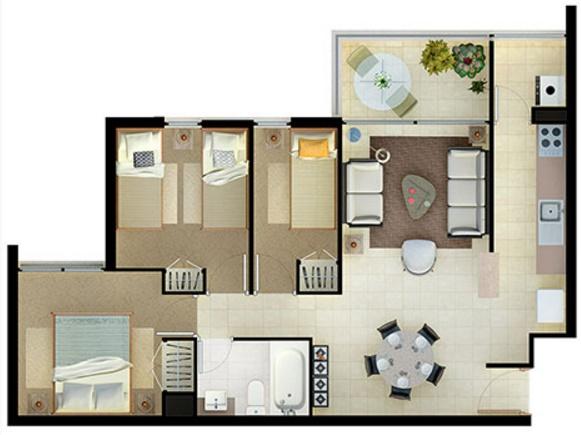Modelos de departamentos para construir for Modelo de departamento pequeno