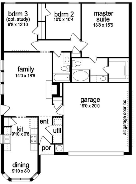 Plano de casa bonita de 3 dormitorios con cochera Planos de casas de 3 dormitorios