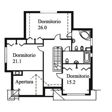 Plano de casa clásica de dos pisos