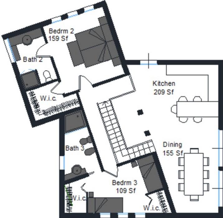 Plano de casa con diseño irregular y 2 pisos