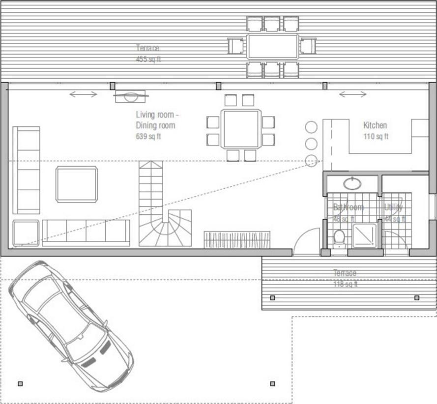 Plano de casa con techo voladizo y amplios ventanales