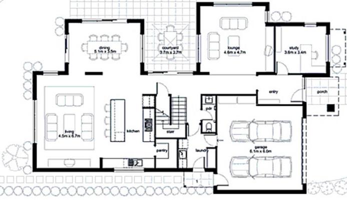 Plano de casa conceptual de dos pisos y tres dormitorios
