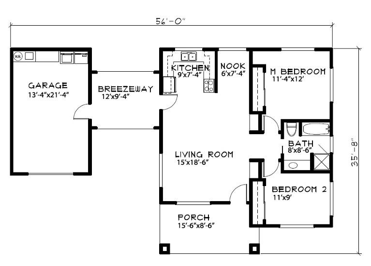 Plano de casa de 10 x 17
