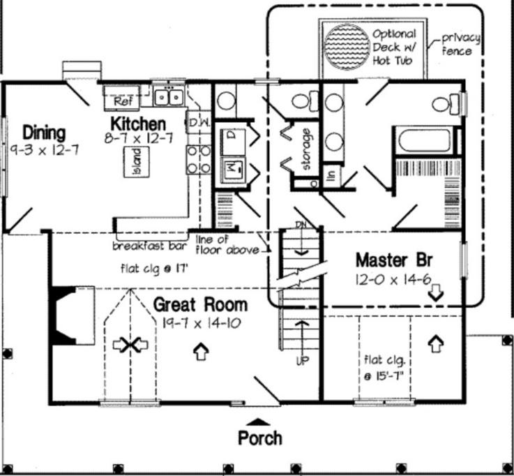 Plano de casa de 145 metros cuadrados y 3 dormitorios