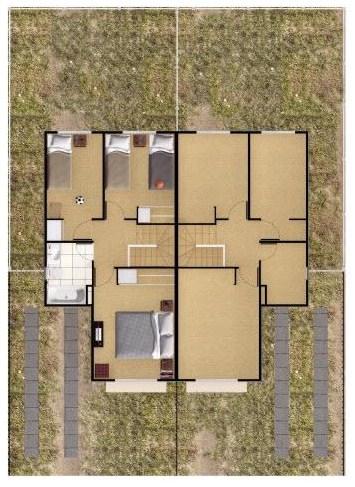 Plano de casa de 2 pisos y 3 habitaciones