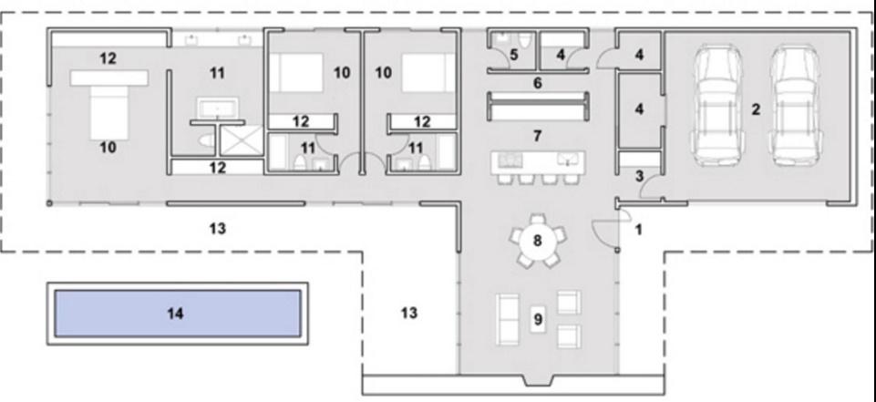 Plano de casa de 220 metros cuadrados con ventanales