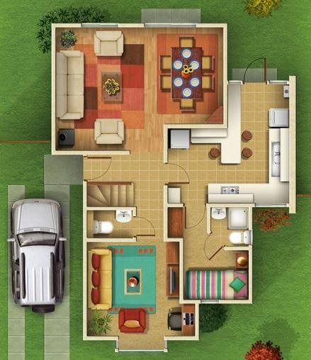 Plano de casa de 4 dormitorios en 2 pisos for Plano casa un piso