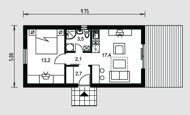 Plano de casa de 5 x 10 m