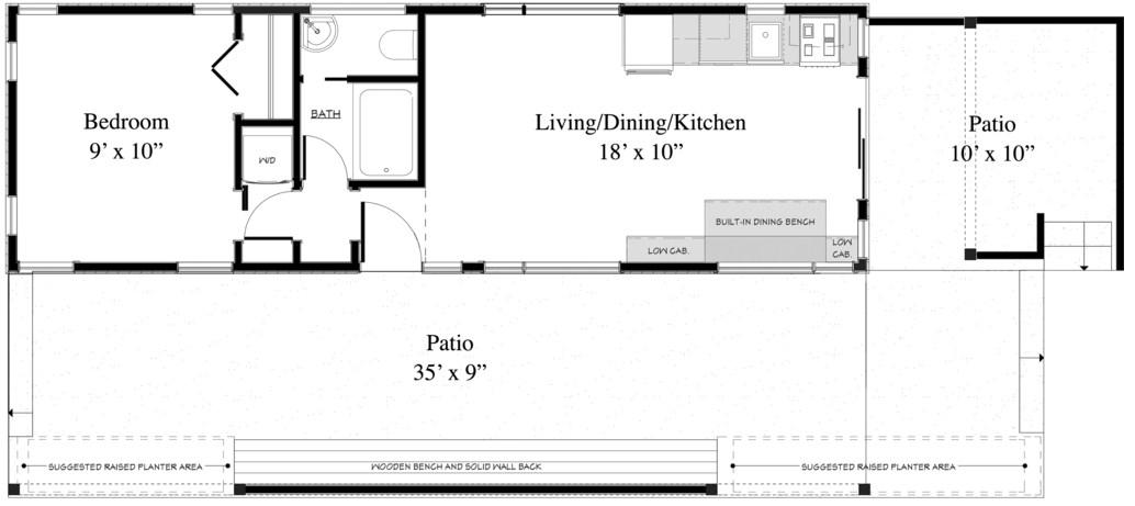 Plano de casa de playa de 1 dormitorio
