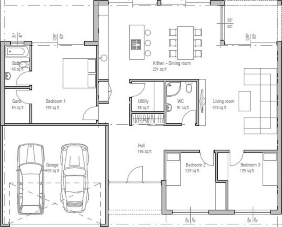 Plano de casa de un piso y tres dormitorios for Plano casa un piso