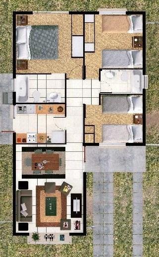 Plano de casa de un piso y 3 habitaciones - Planos d casas d un piso ...