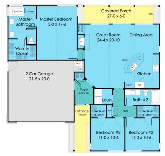 Plano de casa de una planta con cochera doble