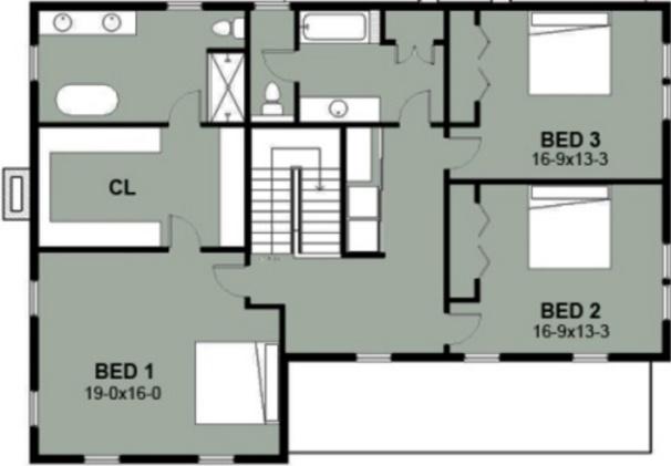 Plano de casa estilo country de dos pisos