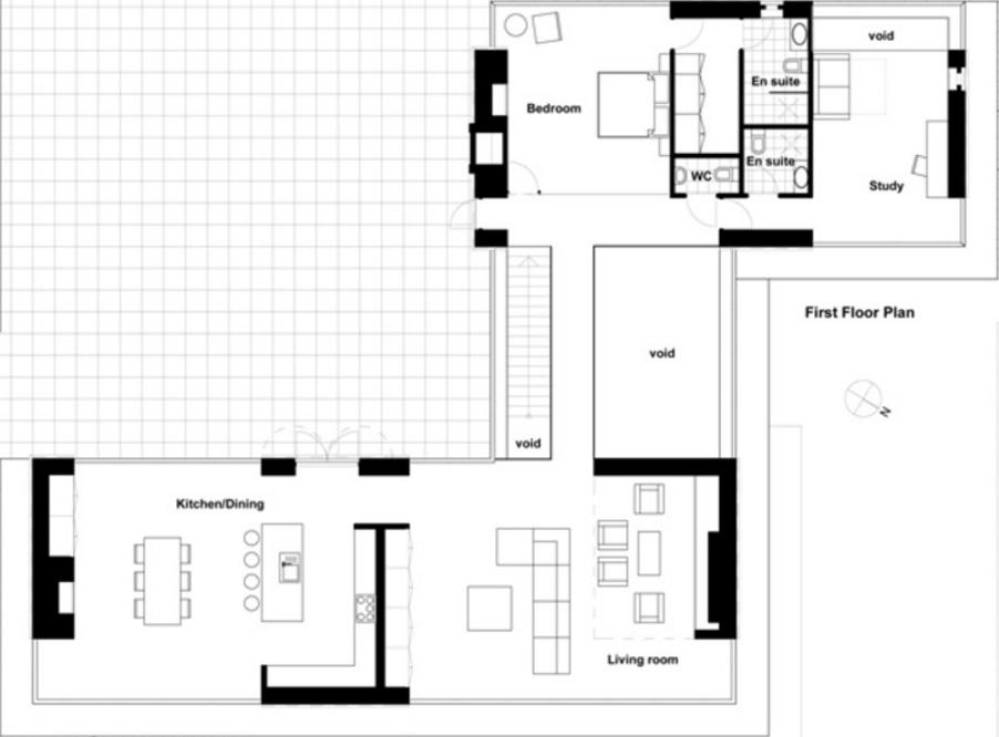 Plano de casa grande de 2 pisos con estilo moderno