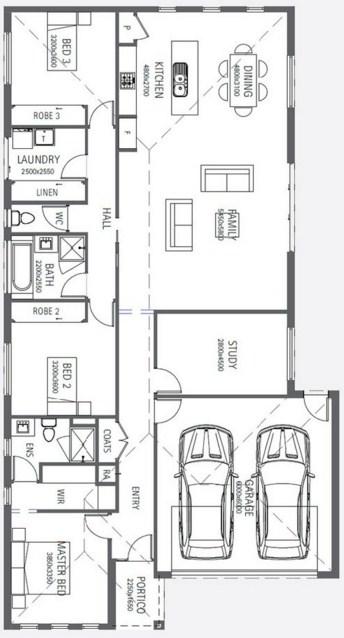 Plano de casa de tres dormitorios y cochera doble for Planos para casas modernas