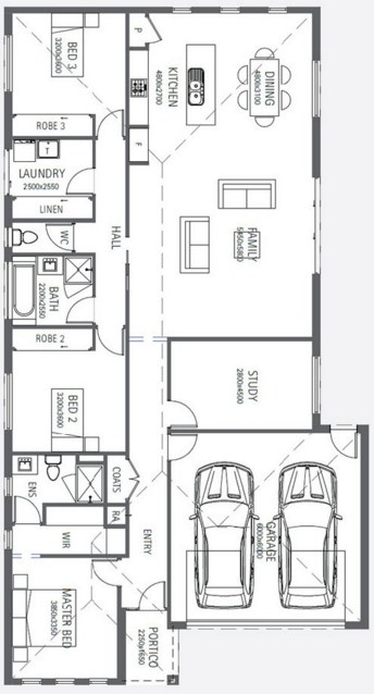 Plano de casa de tres dormitorios y cochera doble for Planos de casas modernas de 3 dormitorios