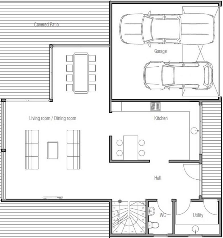 Plano de casa moderna con 2 cocheras y 3 dormitorios