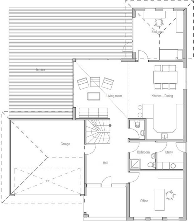 Plano de casa moderna con ventanas bonitas
