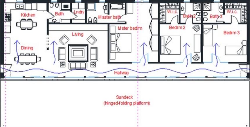 Plano de casa moderna y lujosa con 3 dormitorios