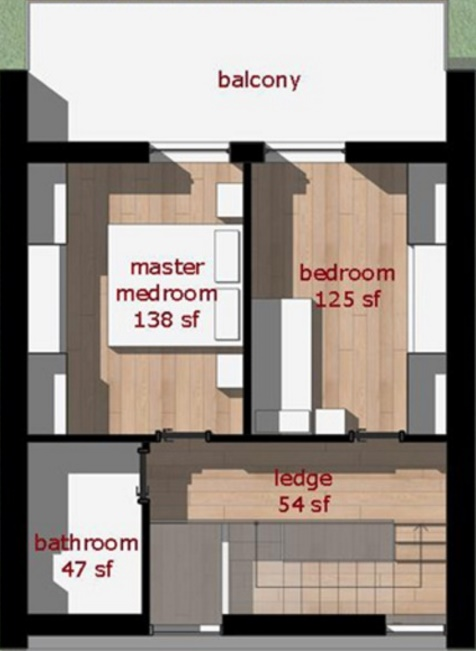 Plano de casa pequeña con dos habitaciones