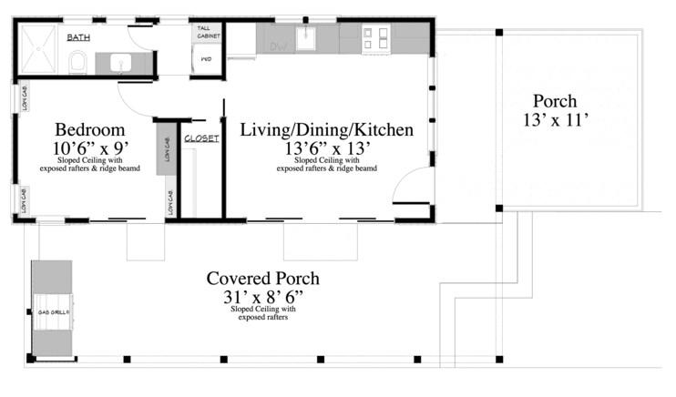 Plano de casa sencilla con galeria