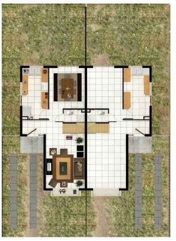 Plano de casa simple de 2 pisos y 3 habitaciones