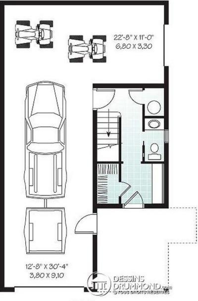 Plano de casa tradicional con garaje de doble entrada