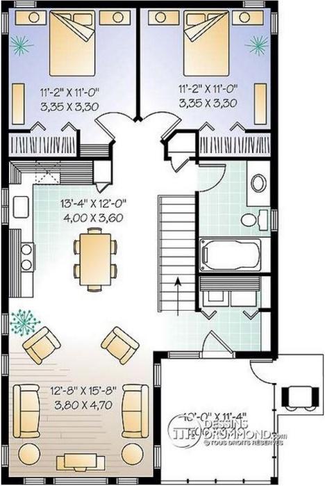 plano de casa tradicional de 2 dormitorios y 2 pisos