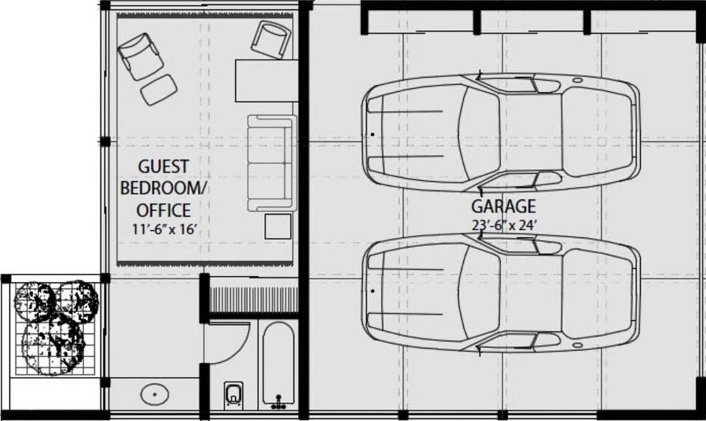 Plano de casa vidriada con techo de chapa en planta baja