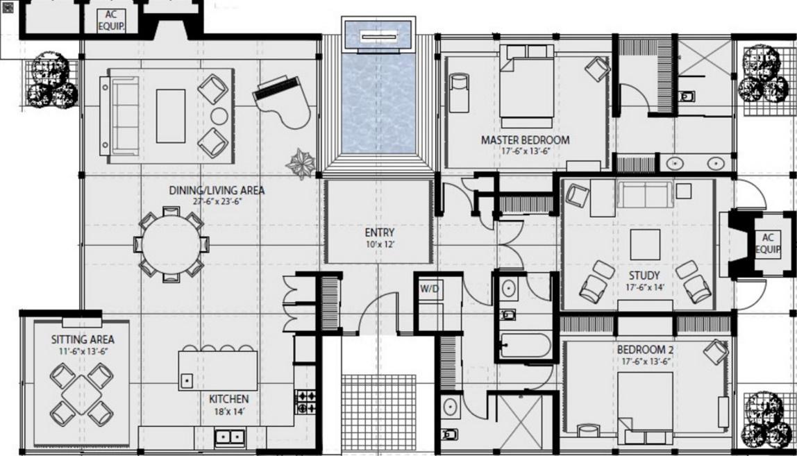 Plano de casa vidriada con techo de chapa
