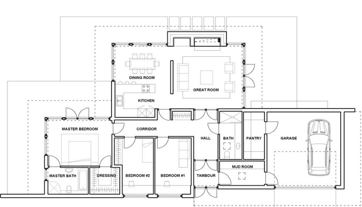 Plano de un piso con 3 dormitorios