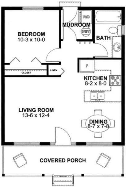 Plano de una casa simple con medidas