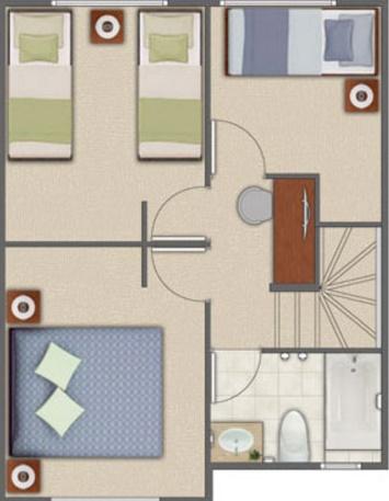 Plano de vivienda pequeña planta alta