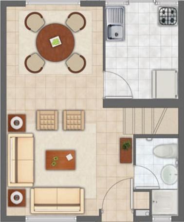 Plano de vivienda pequeña planta baja