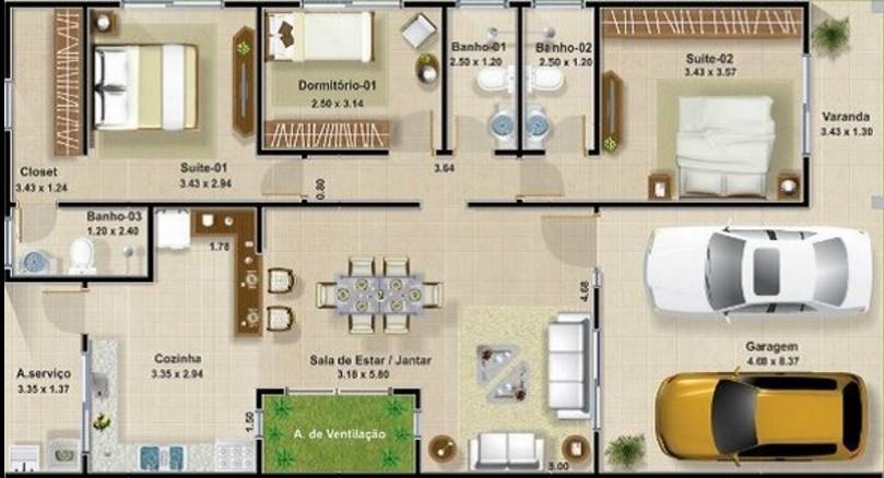 Planos de casas de 3 dormitorios imagenes