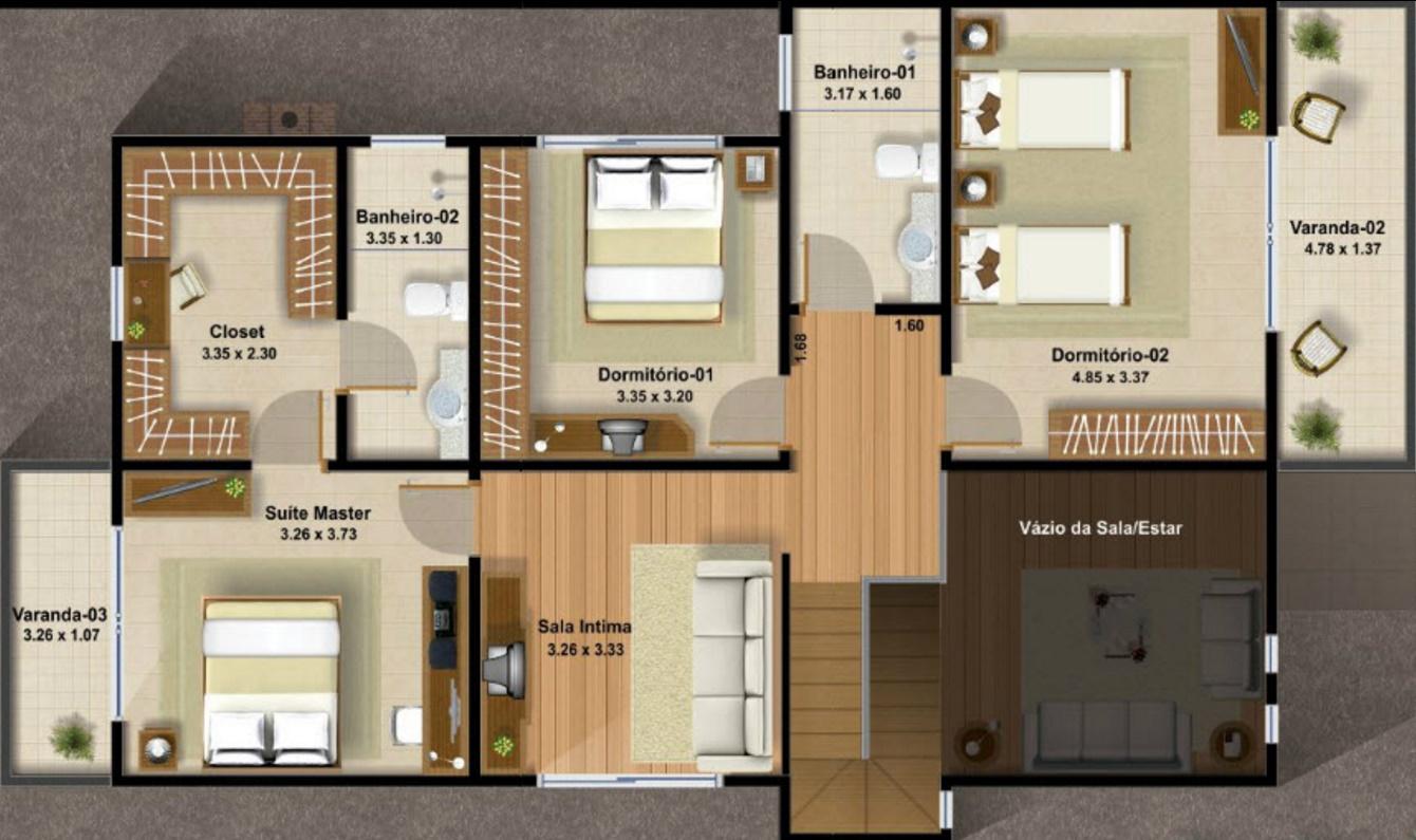plano de casa de tres habitaciones