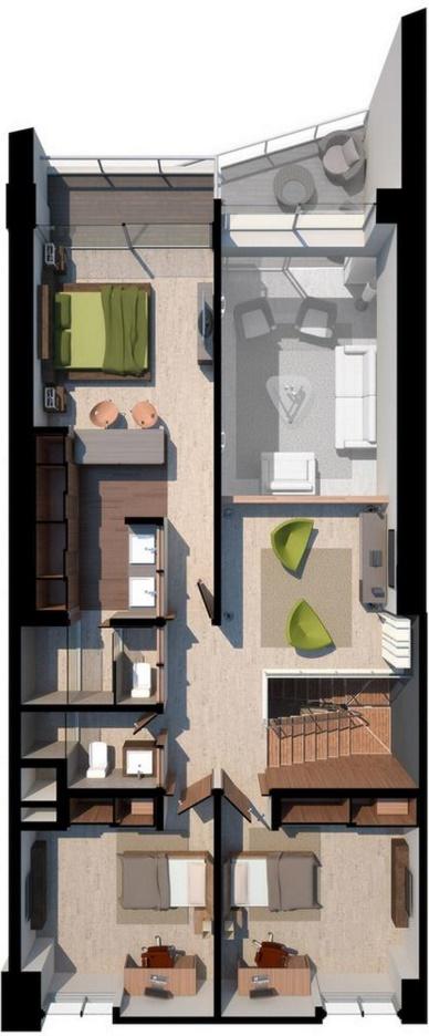 Planos de apartamentos modernos for Banos modernos para apartamentos
