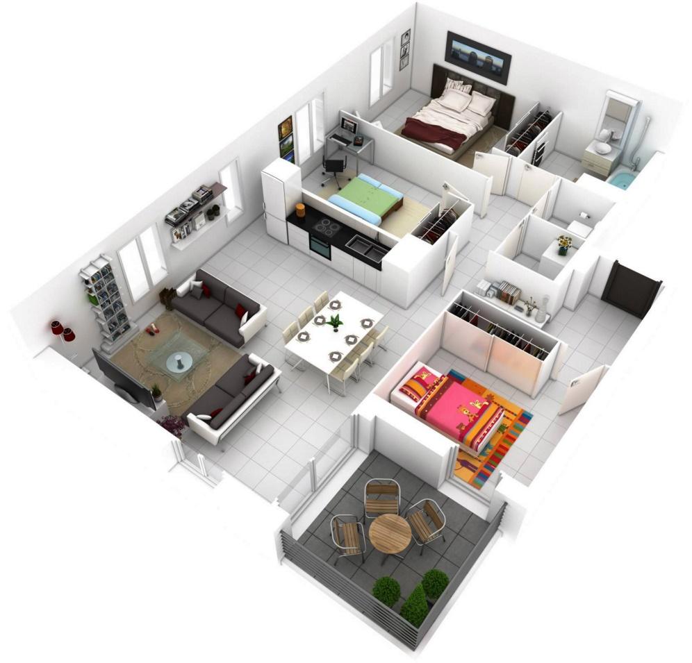 Planos departamentos for Departamentos minimalistas planos