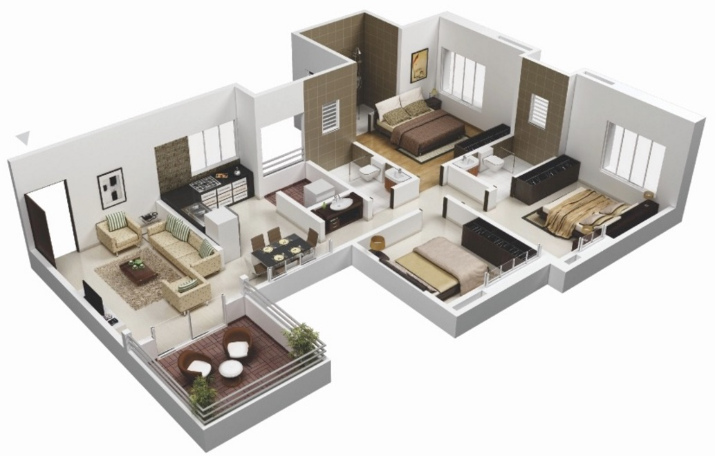 Two Bedroom Flat Floor Plan