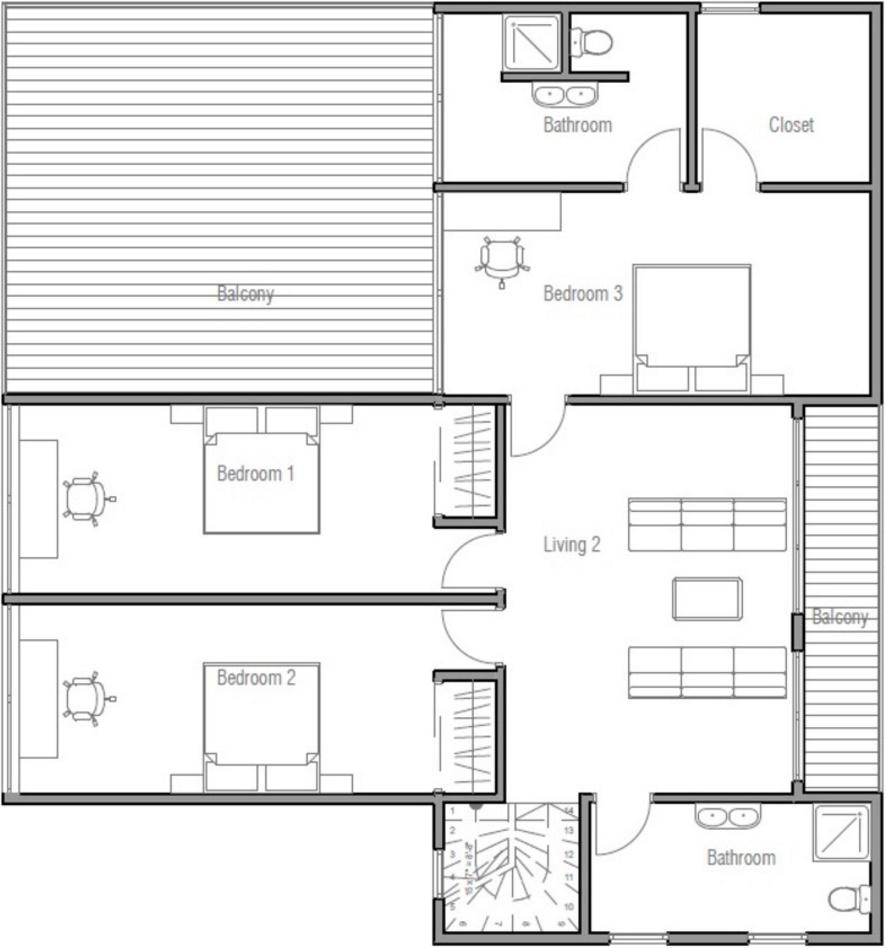 Planta arquitectonica moderna con 2 cocheras y 3 dormitorios